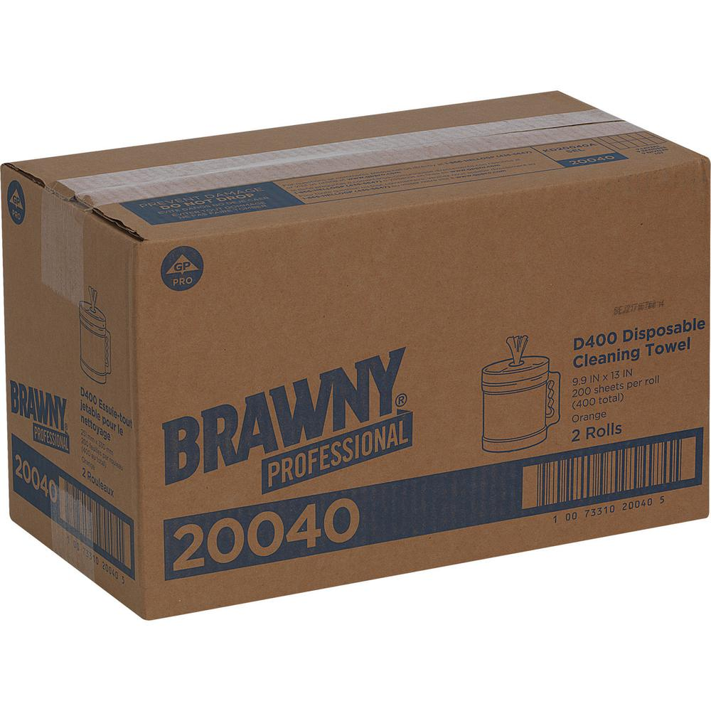 """Brawny® Professional D400 Disposable Cleaning Towels in Bucket - 9.90"""" x 13"""" - 200 Sheets/Roll - Orange - Absorbent, Soft - 200 - 2 / Carton. Picture 2"""