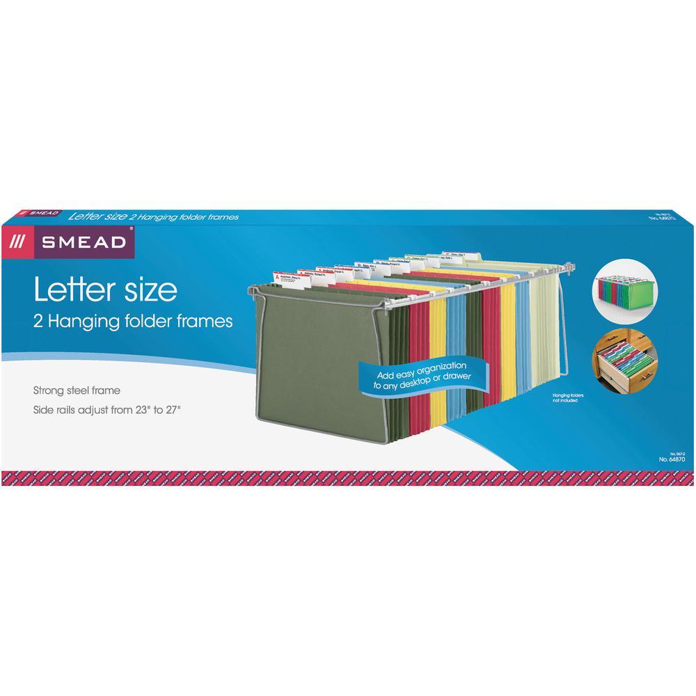"Smead Hanging Folder Frames - Letter - 23""-27"" Long - Steel - Gray - 2 / Pack. Picture 2"