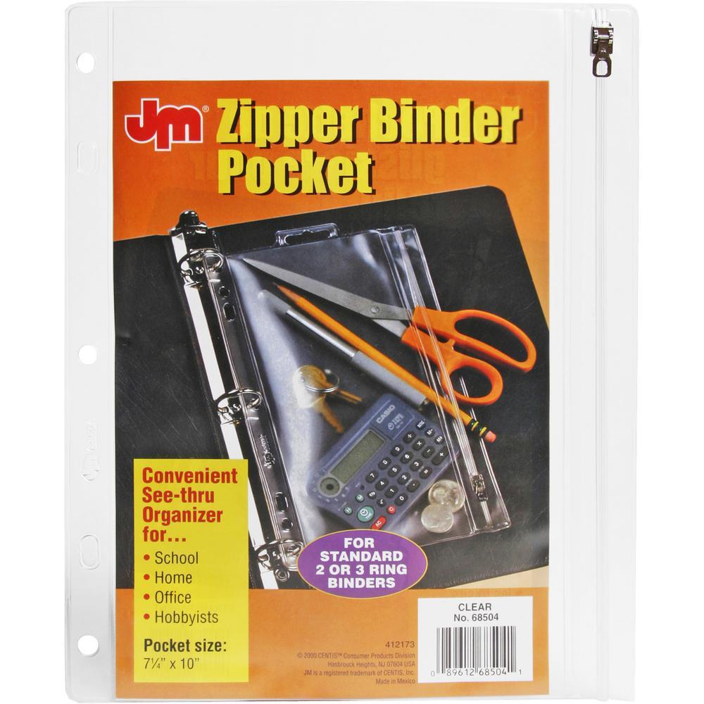 "Oxford Zipper Binder Pockets - 10 1/2"" x 8"" Sheet - Ring Binder - Rectangular - Clear, White - Poly - 1 Each. Picture 4"