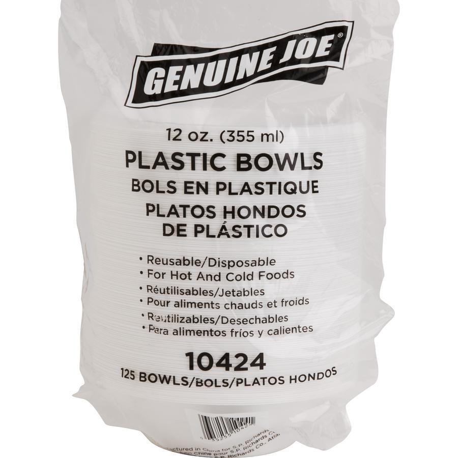 Genuine Joe Reusable Plastic Bowls - Bowl - Plastic Bowl - White - 125 Piece(s) / Pack. Picture 2