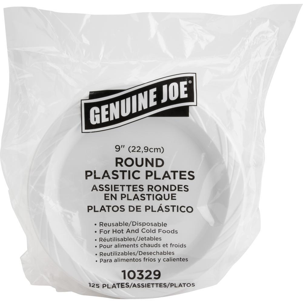 "Genuine Joe Reusable Plastic White Plates - 9"" Diameter Plate - Plastic - White - 125 Piece(s) / Pack. Picture 3"