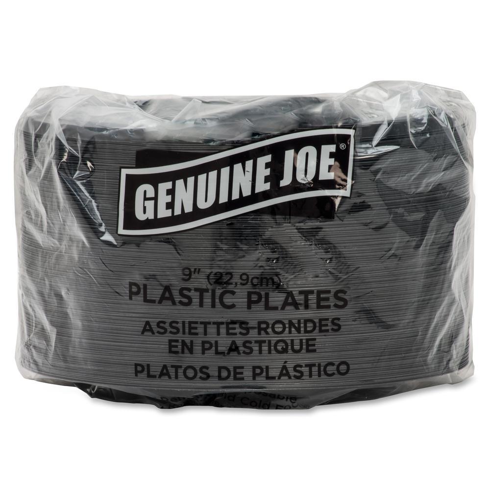 "Genuine Joe Round Plastic Black Plates - 9"" Diameter Plate - Plastic - Black - 125 Piece(s) / Pack. Picture 9"