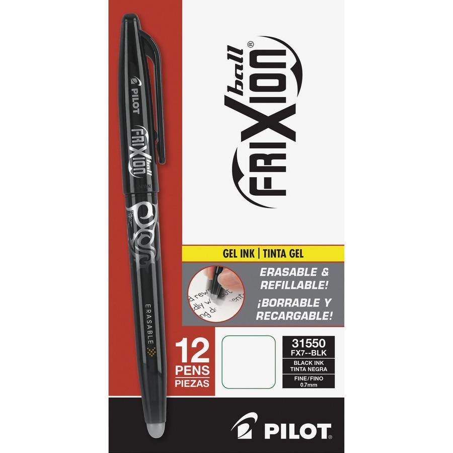 Pilot FriXion Ball Erasable Gel Pens - Fine Pen Point - 0.7 mm Pen Point Size - Black Gel-based Ink - Black Barrel - 12 / Dozen. Picture 5