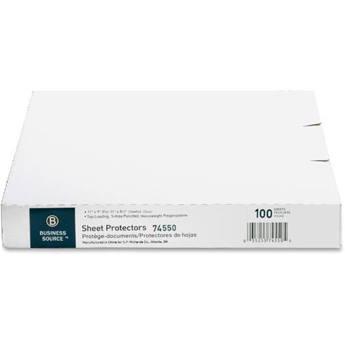 """Business Source Top-Loading Poly Sheet Protectors - 3.3 mil Thickness - For Letter 8 1/2"""" x 11"""" Sheet - Ring Binder - Rectangular - Clear - Poly - 100 / Box. Picture 5"""