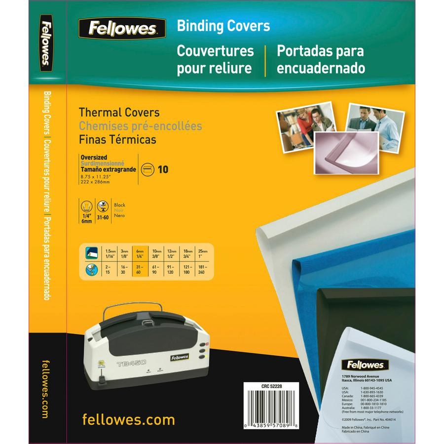"""Fellowes Thermal Presentation Covers - 1/4"""" , 60 sheets, Black - 11"""" Height x 8.5"""" Width x 0.3"""" Depth - 0.25"""" Maximum Capacity - 60 x Sheet Capacity - Rectangular - Black, Clear - Polyvinyl Chloride (. Picture 4"""
