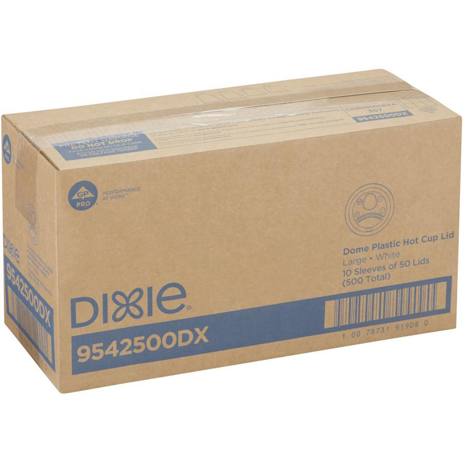 Dixie Large Hot Cup Lids by GP Pro - Dome - Plastic - 50 / Pack - White. Picture 4