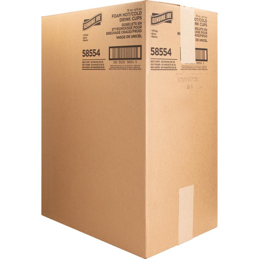 Genuine Joe Hot/Cold Foam Cups - 16 fl oz - 500 / Carton - White - Foam - Hot Drink, Cold Drink. Picture 5