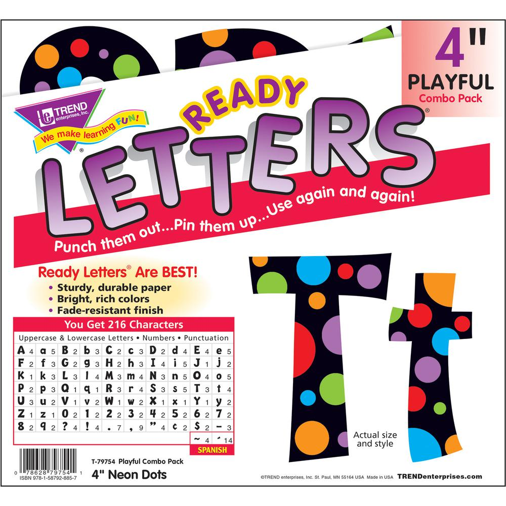"""Trend Ready Letter Neon Dots - 83, 20, 36, 59, 18 (Lowercase Letters, Numbers, Punctuation Marks, Uppercase Letters, Spanish Accent Mark) Shape - Pin-up - 4"""" Height - Assorted - 1 / Pack"""