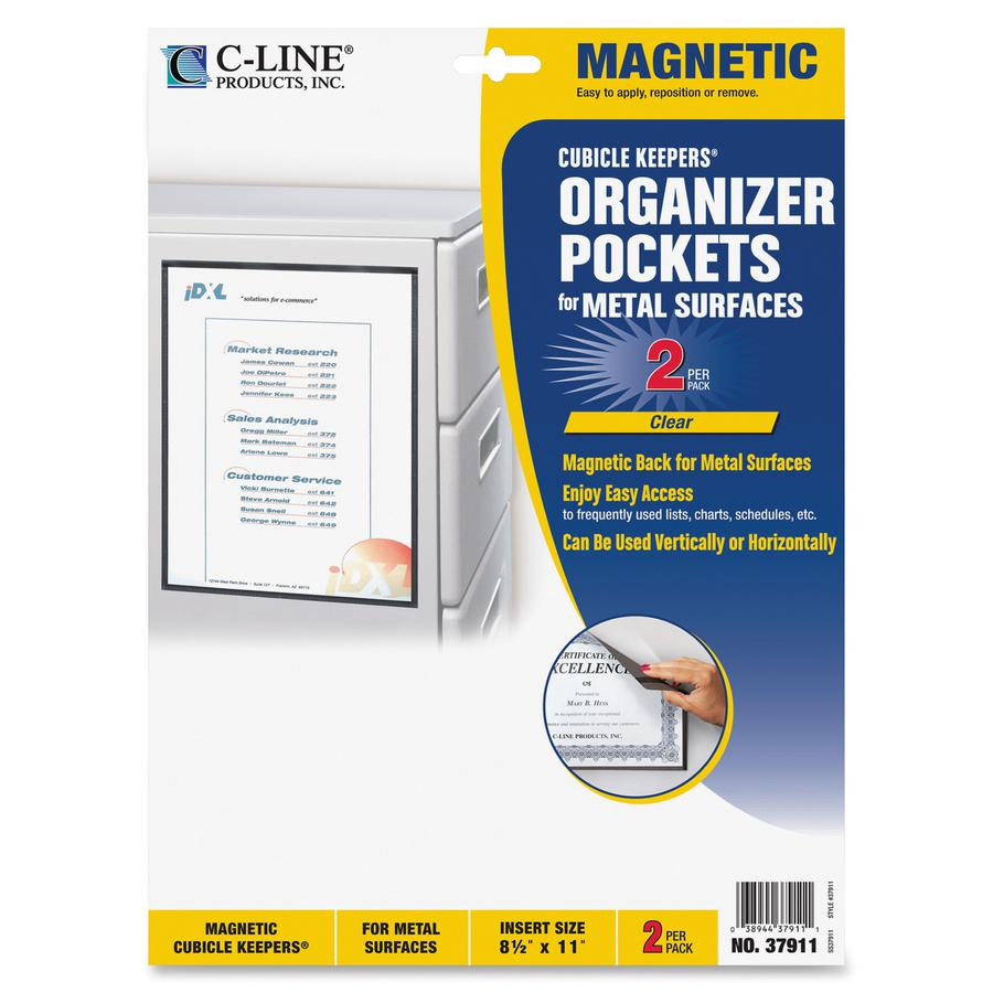 C-Line Cubicle Keepers Display Pockets for Metal Surfaces - Magnetic, 8-1/2 x 11, 2/PK, 37911