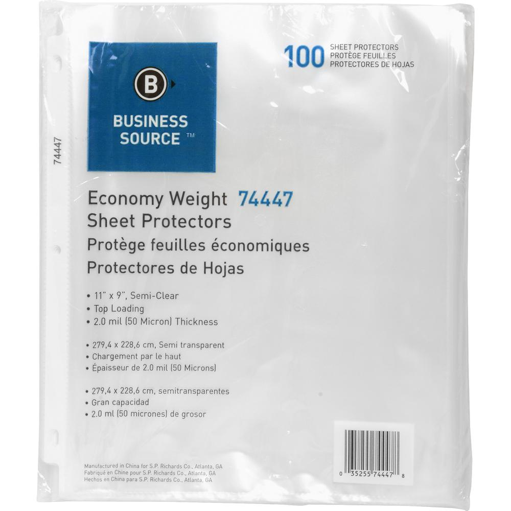 "Business Source Economy Weight Sheet Protectors - 11"" Height x 9"" Width - 2 mil Thickness - For Letter 8 1/2"" x 11"" Sheet - Ring Binder - Rectangular - Semi Clear - Polypropylene - 100 / Pack. Picture 2"