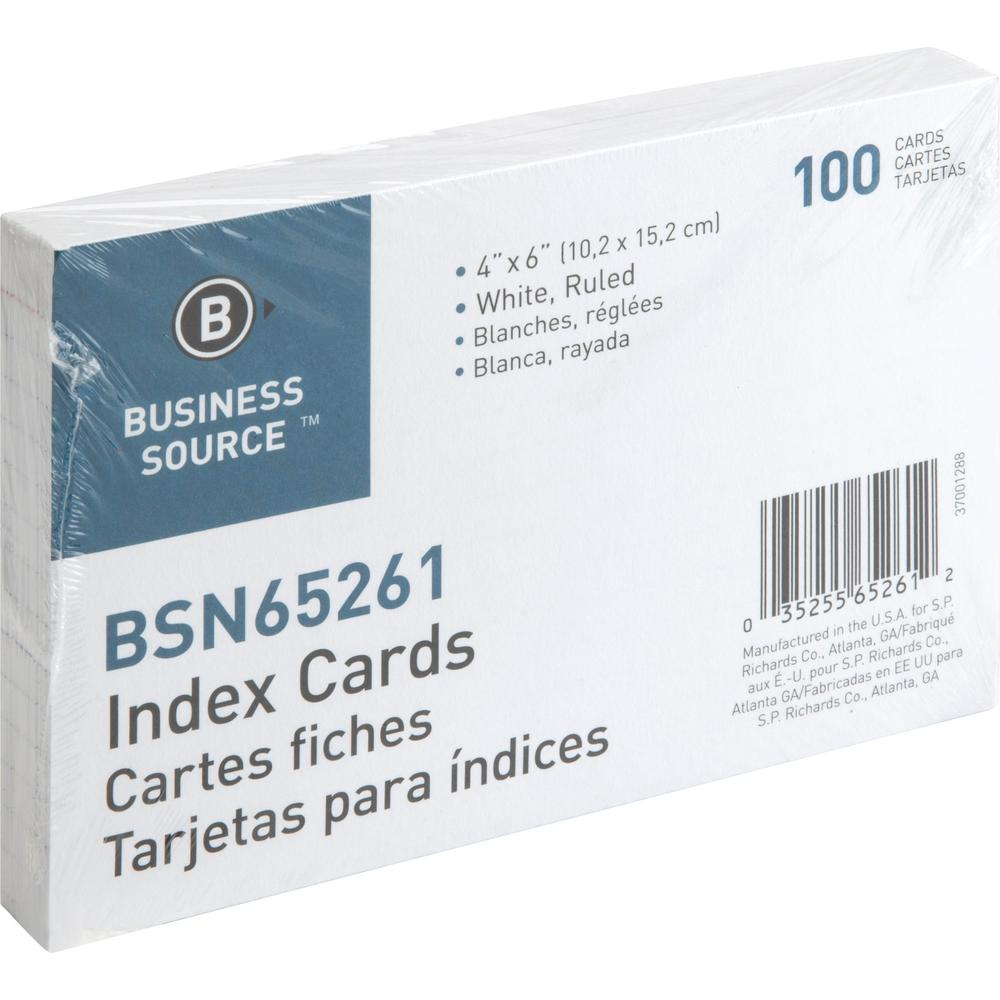 """Business Source Ruled White Index Cards - 6"""" Width x 4"""" Length - 100 / Pack. Picture 3"""