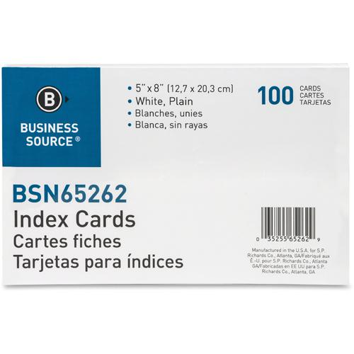"Business Source Plain Index Cards - 8"" Width x 5"" Length - 100 / Pack. Picture 3"
