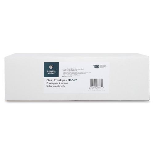 "Business Source Heavy-duty Clasp Envelopes - Clasp - #110 - 12"" Width x 15 1/2"" Length - 28 lb - Clasp - Kraft - 100 / Box - Kraft. Picture 3"