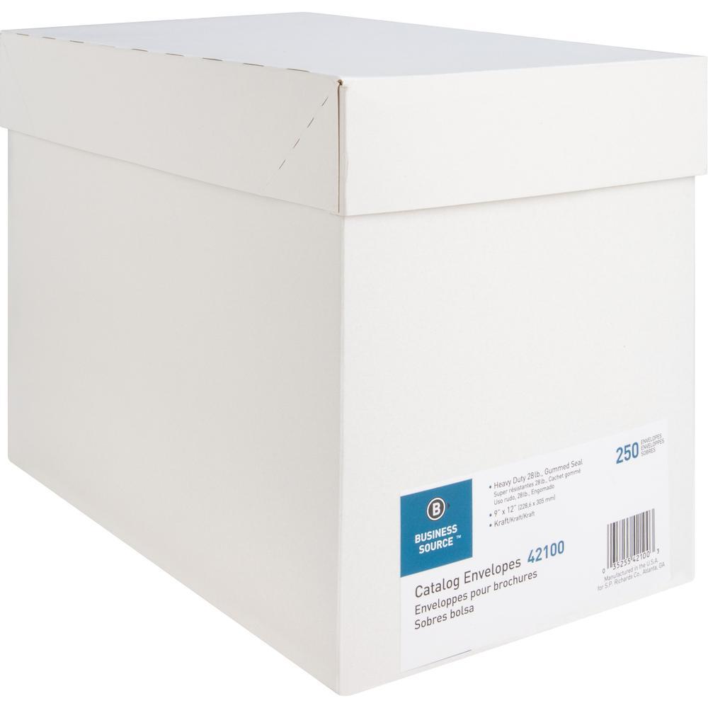 "Business Source Kraft Gummed Catalog Envelopes - Catalog - #10 1/2 - 9"" Width x 12"" Length - 28 lb - Gummed - Kraft - 250 / Box - Kraft. Picture 11"