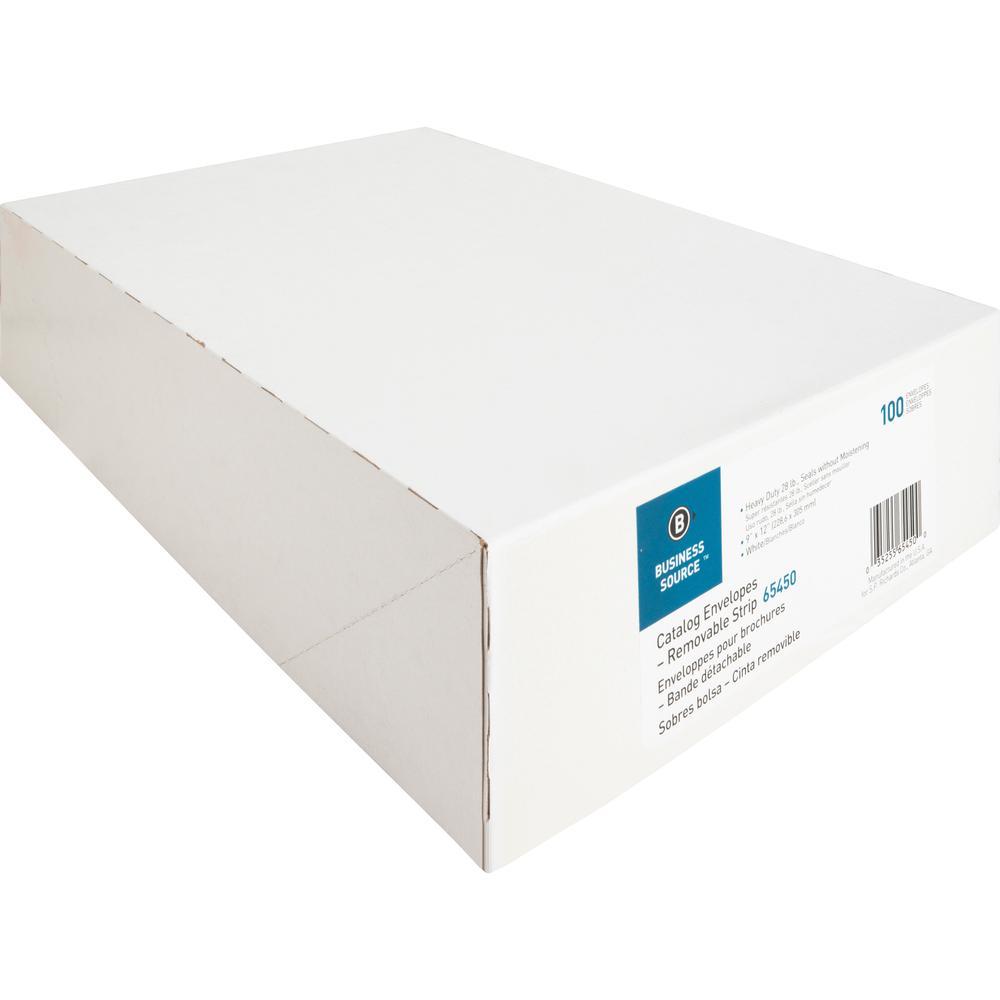 "Business Source Self Sealing Catalog Envelope - Catalog - 9"" Width x 12"" Length - 28 lb - Peel & Seal - Wove - 100 / Box - White. Picture 4"