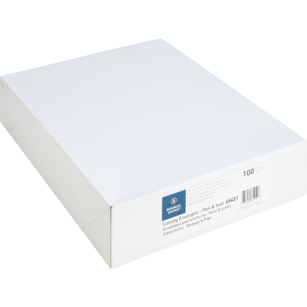 "Business Source Self Sealing Catalog Envelopes - Catalog - 10"" Width x 13"" Length - 28 lb - Peel & Seal - Wove - 100 / Box - White. Picture 7"