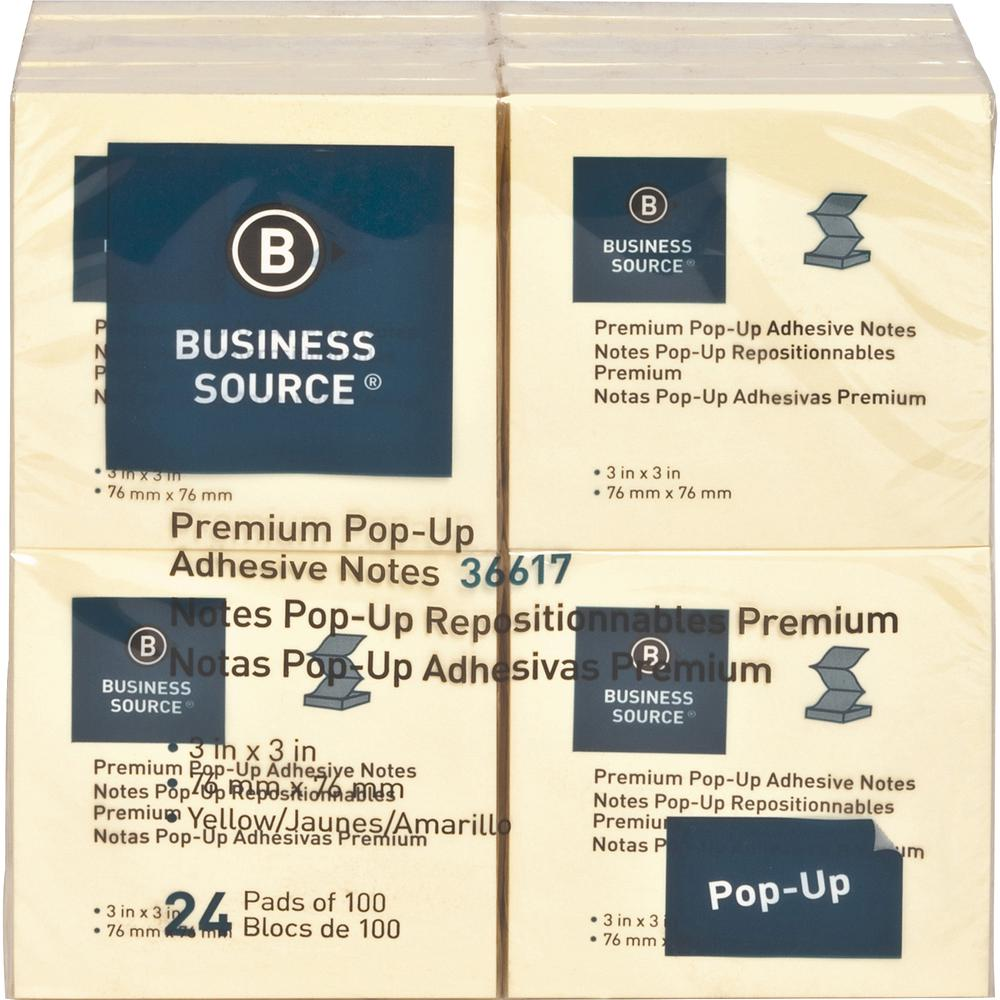 """Business Source Reposition Pop-up Adhesive Notes - 3"""" x 3"""" - Square - Yellow - Removable, Repositionable, Solvent-free Adhesive, Fanfold, Pop-up - 24 / Pack. Picture 3"""