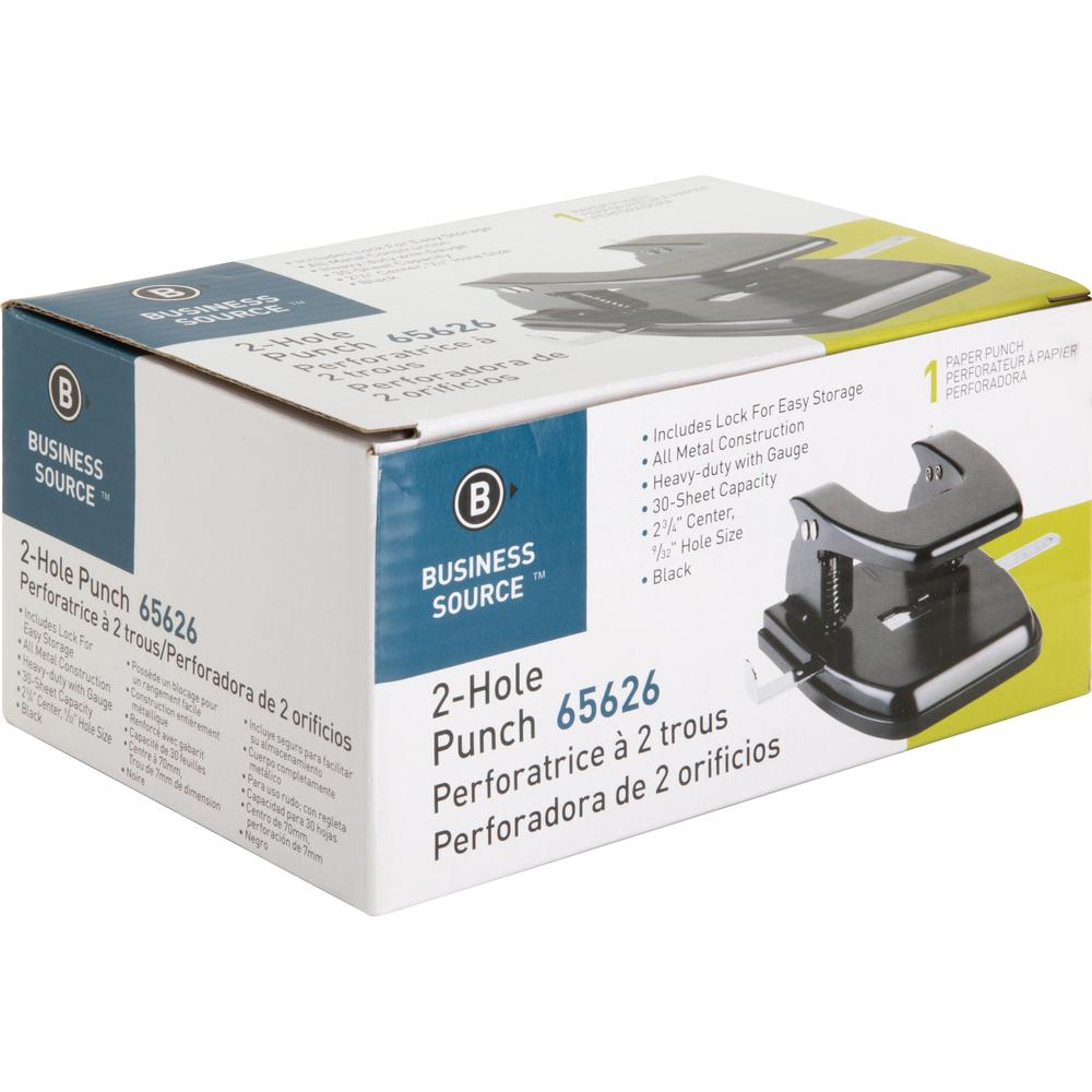 """Business Source Heavy-duty 2-Hole Punch - 2 Punch Head(s) - 30 Sheet Capacity - 9/32"""" Punch Size - Round Shape - Black. Picture 6"""