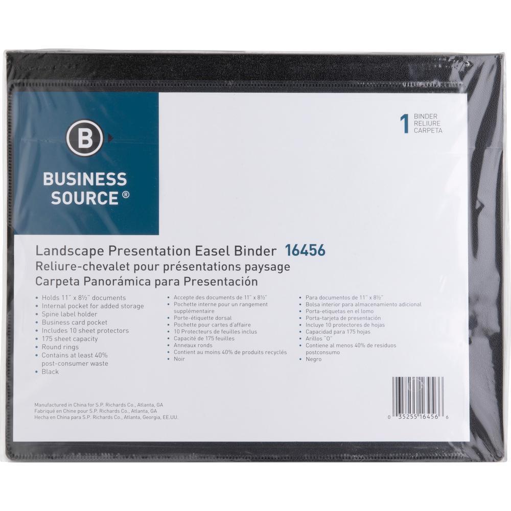 "Business Source Presentation Binder - 1"" Binder Capacity - Letter - 8 1/2"" x 11"" Sheet Size - Ring Fastener(s) - Internal Pocket(s) - Black - Recycled - Business Card Holder, Label Holder - 1 Each. Picture 3"