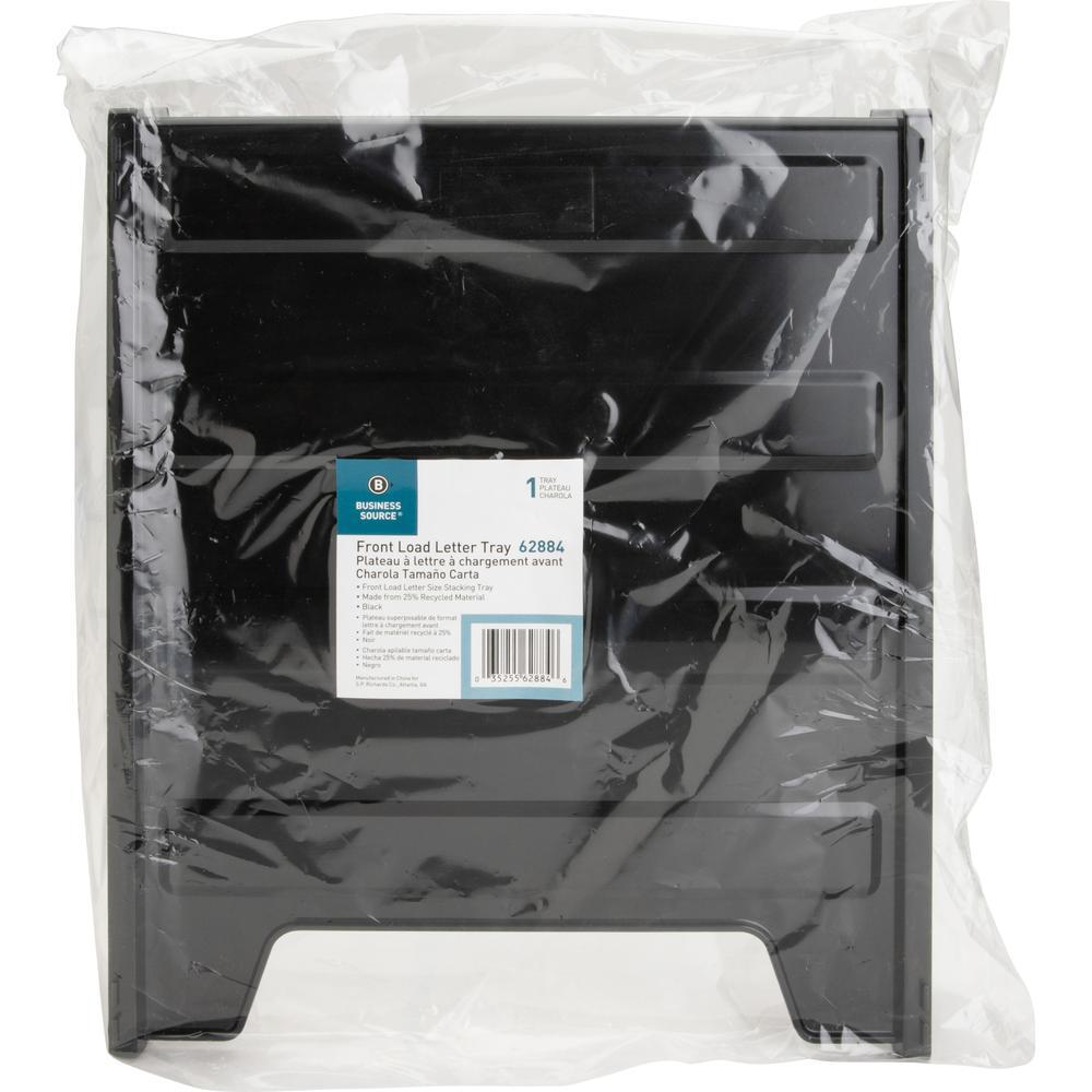 Business Source Front-Load Stackable Letter Tray - Desktop - Stackable - 25% - Black - Plastic - 1 Each. Picture 7