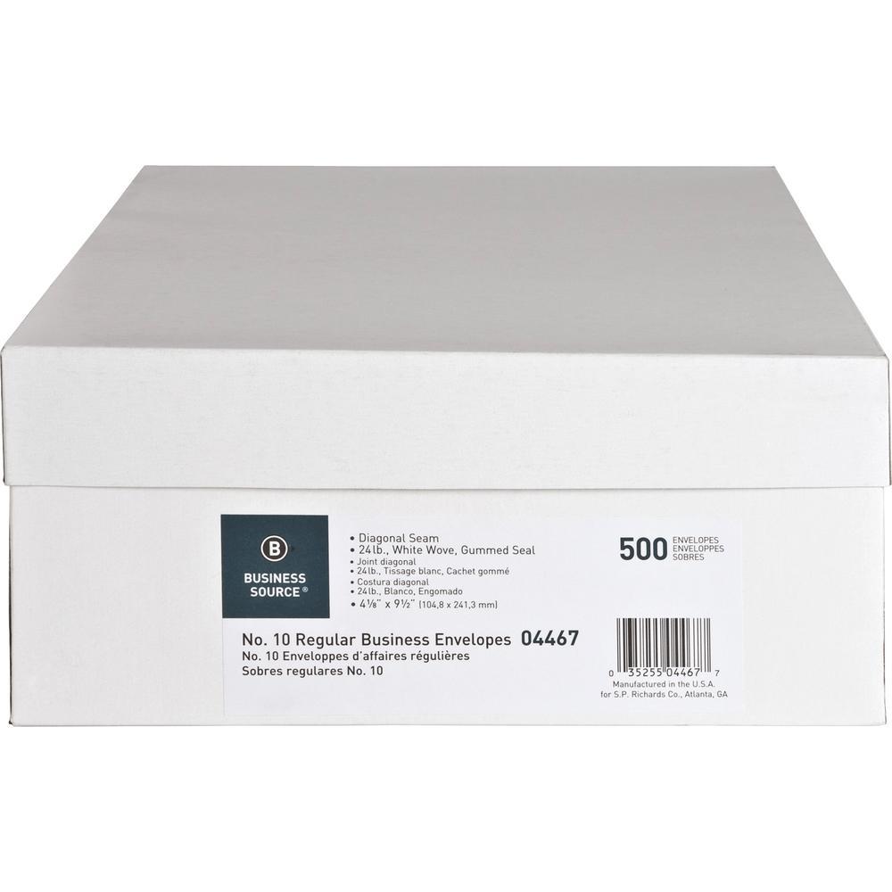 "Business Source No. 10 White Wove V-Flap Business Envelopes - Business - #10 - 9 1/2"" Width x 4 1/8"" Length - 24 lb - Gummed - Wove - 500 / Box - White. Picture 4"