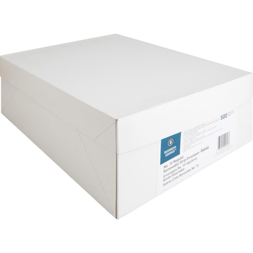 "Business Source Plain Peel/Seal Business Envelopes - Business - #10 - 9 1/2"" Width x 4 1/8"" Length - 24 lb - Peel & Seal - Wove - 500 / Box - White. Picture 8"