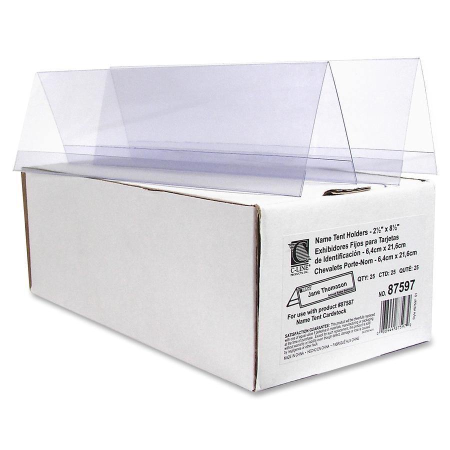 C-Line Heavyweight Rigid Plastic Name Tent Holder - Medium Size, 2-1/2 x 8-1/2, 25/BX, 87597. Picture 4
