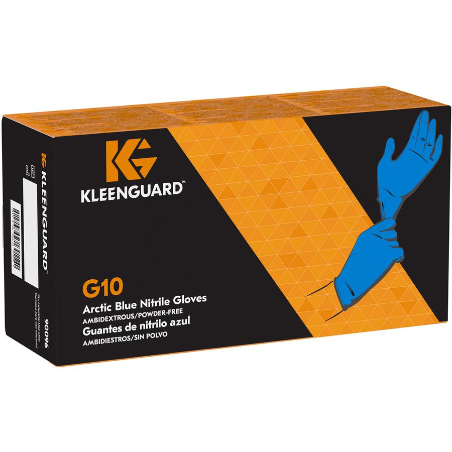 KleenGuard G10 Nitrile Gloves - Medium Size - Nitrile - Arctic Blue - Latex-free, Powder-free, Textured Fingertip, Ambidextrous, Beaded Cuff, Comfortable - For Industrial, Food Handling, Electrical Co. Picture 6