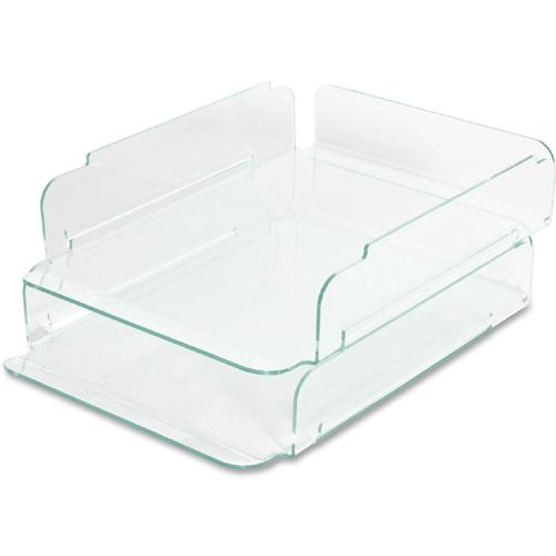 Lorell Stacking Letter Trays Desktop Clear Green