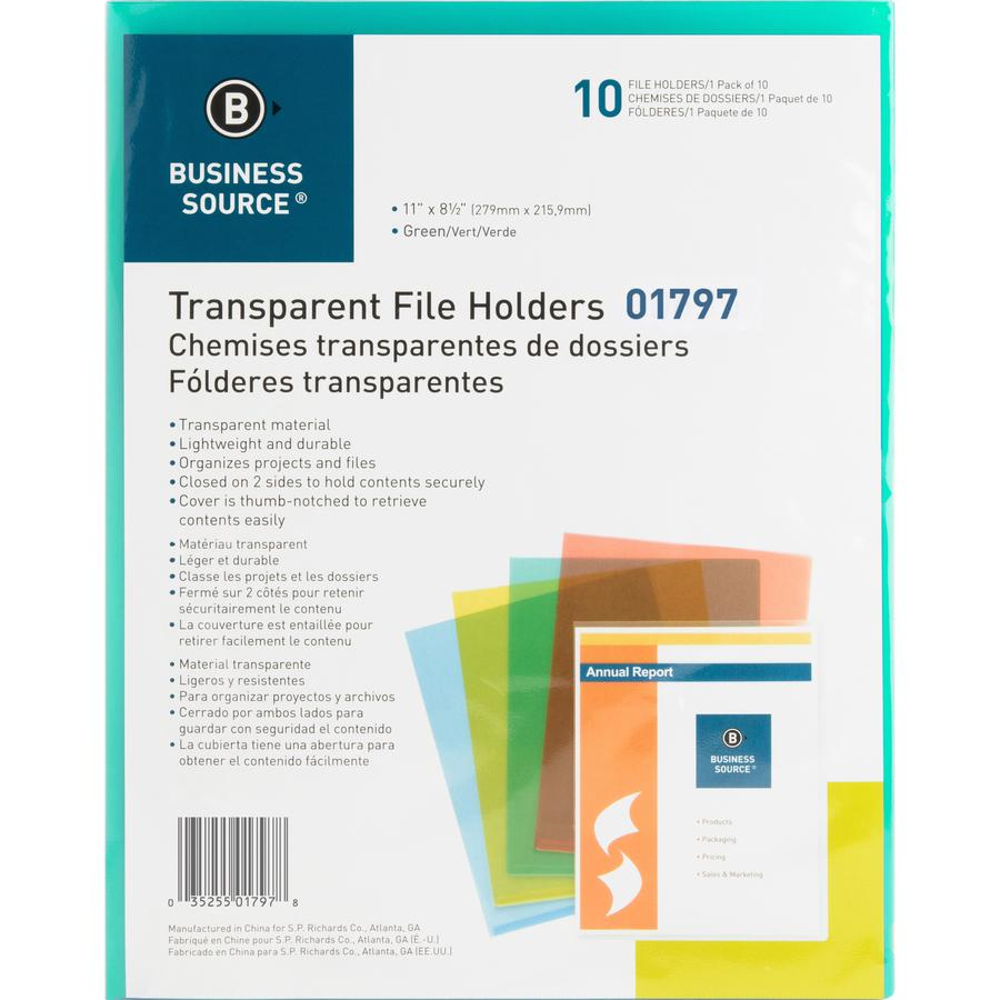"Business Source Transparent Poly File Holders - Letter - 8 1/2"" x 11"" Sheet Size - 20 Sheet Capacity - Polypropylene - Green - 10 / Pack. Picture 2"