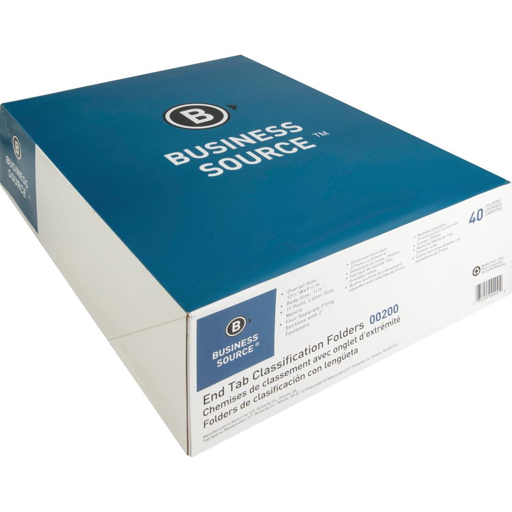 """Business Source 3/4"""" Expanding Medical File Folders - Letter - 8 1/2"""" x 11"""" Sheet Size - 3/4"""" Expansion - 2"""" Fastener Capacity - End Tab Location - 11 pt. Folder Thickness - Manila - Recycled - 40 / B. Picture 4"""