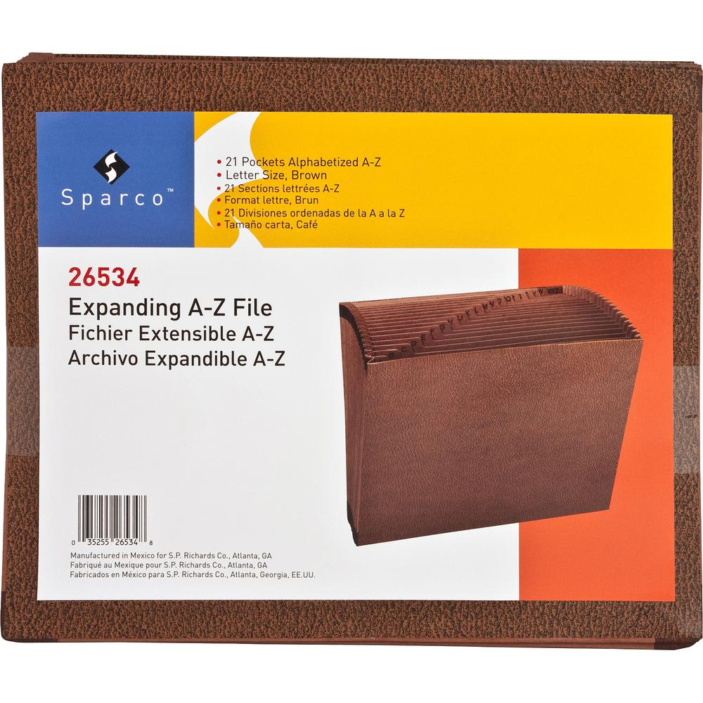 """Business Source Letter Recycled Expanding File - 8 1/2"""" x 11"""" - 21 Pocket(s) - Brown - 30% - 1 Each. Picture 5"""