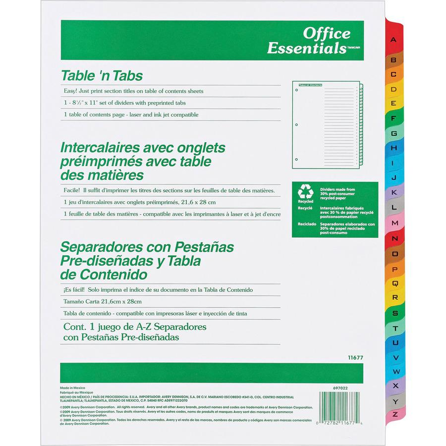 """Avery® A-Z Table 'N Tabs Dividers - 26 x Divider(s) - A-Z, Table of Contents - 26 Tab(s)/Set - 8.5"""" Divider Width x 11"""" Divider Length - 3 Hole Punched - White Paper Divider - Multicolor Paper Tab. Picture 3"""