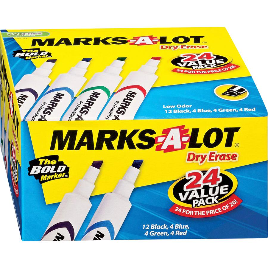 Avery® Marks A Lot Desk-Style Dry-Erase Markers - Chisel Marker Point Style - Black, Blue, Green, Red - 24 / Box. Picture 2