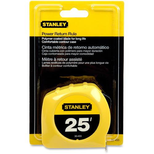 """Stanley Tape Rule - 25 ft Length 1"""" Width - 1/16 Graduations - Imperial Measuring System - Plastic - 1 Each - Yellow. Picture 4"""
