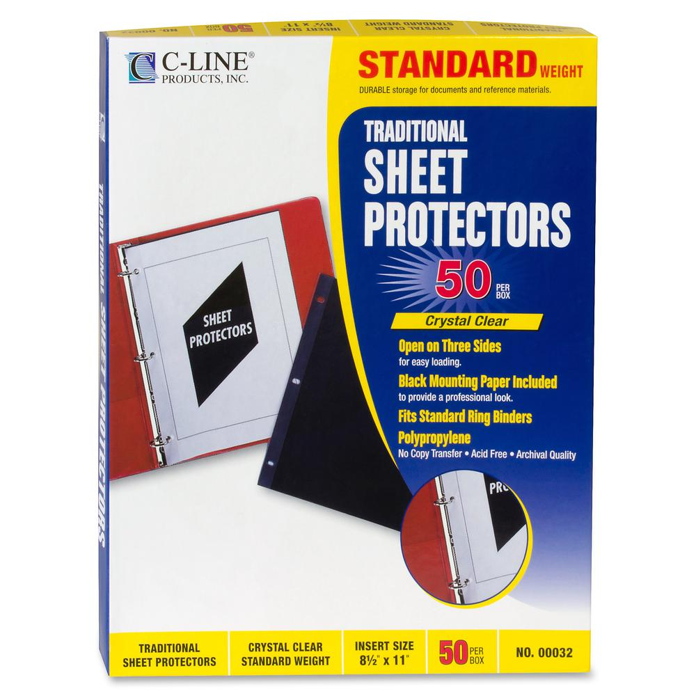 """C-Line Traditional Polypropylene Sheet Protector, Standard Weight, 11 x 8 1/2, 50/BX - Letter 8.50"""" x 11"""" - 3 x Holes - Poly - 50 / Box - Clear"""". Picture 2"""