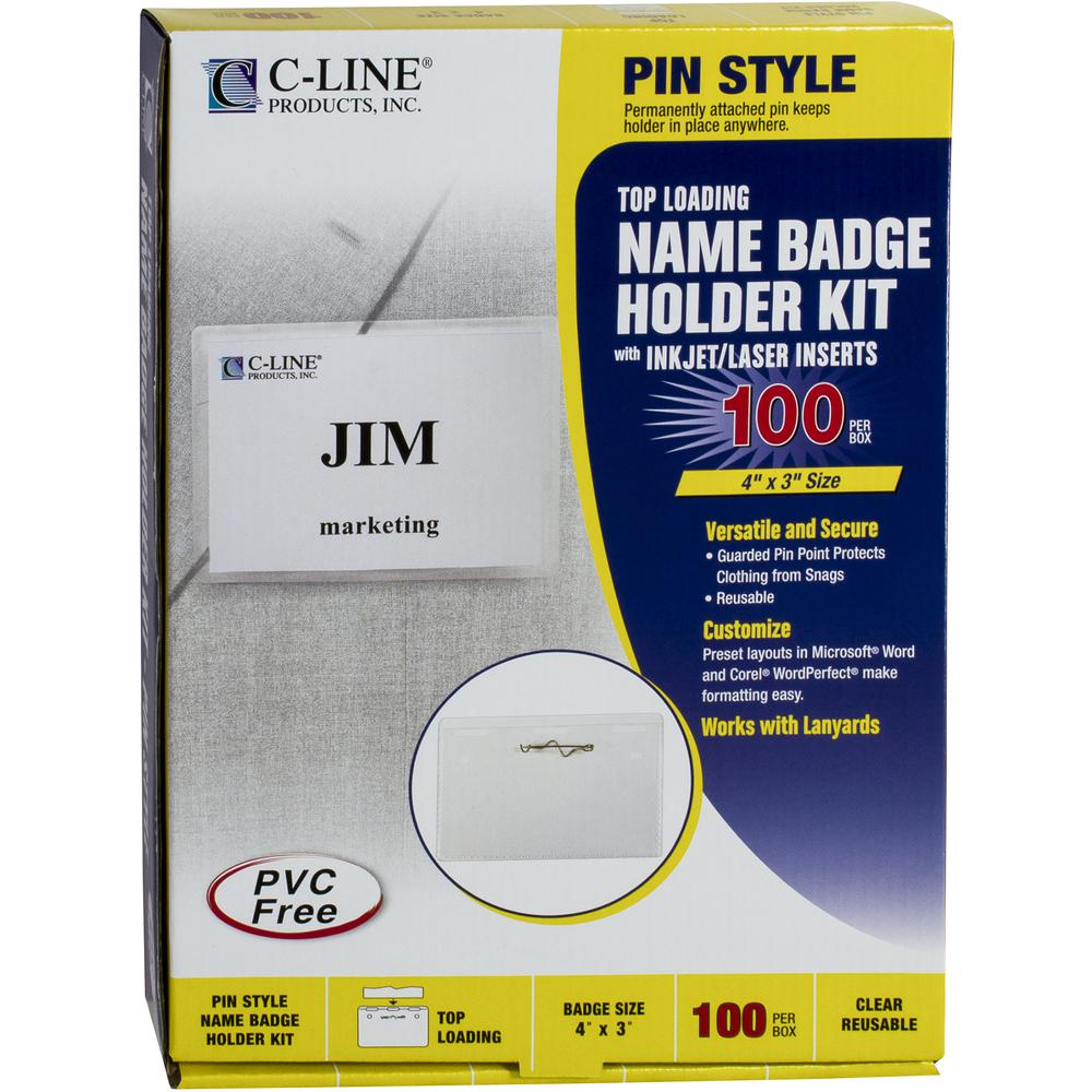 C-Line Pin Style Name Badge Holder Kit - Folded Holders with Inserts, 4 x 3, 100/BX, 94043. Picture 3