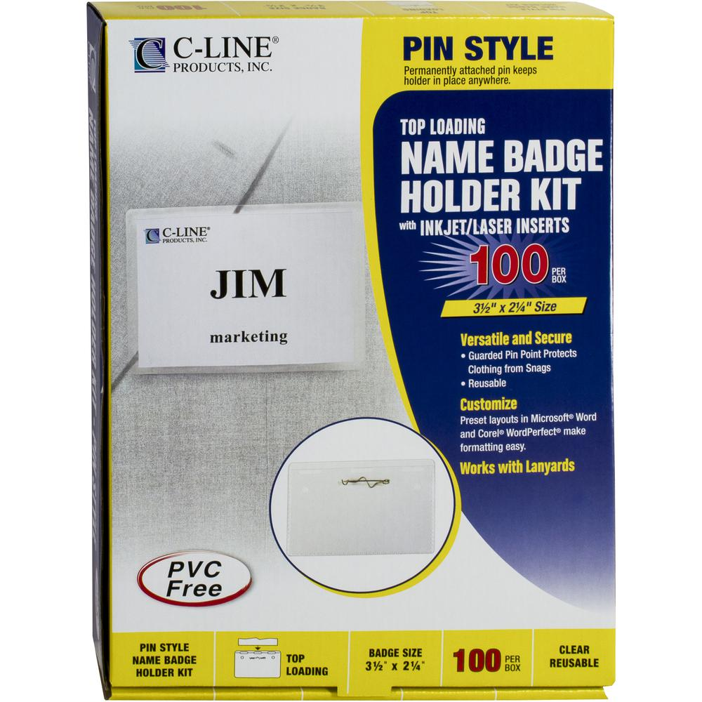 C-Line Pin Style Name Badge Holder Kit - Folded Holders with Inserts, 3-1/2 x 2-1/4, 100/BX, 94223. Picture 2