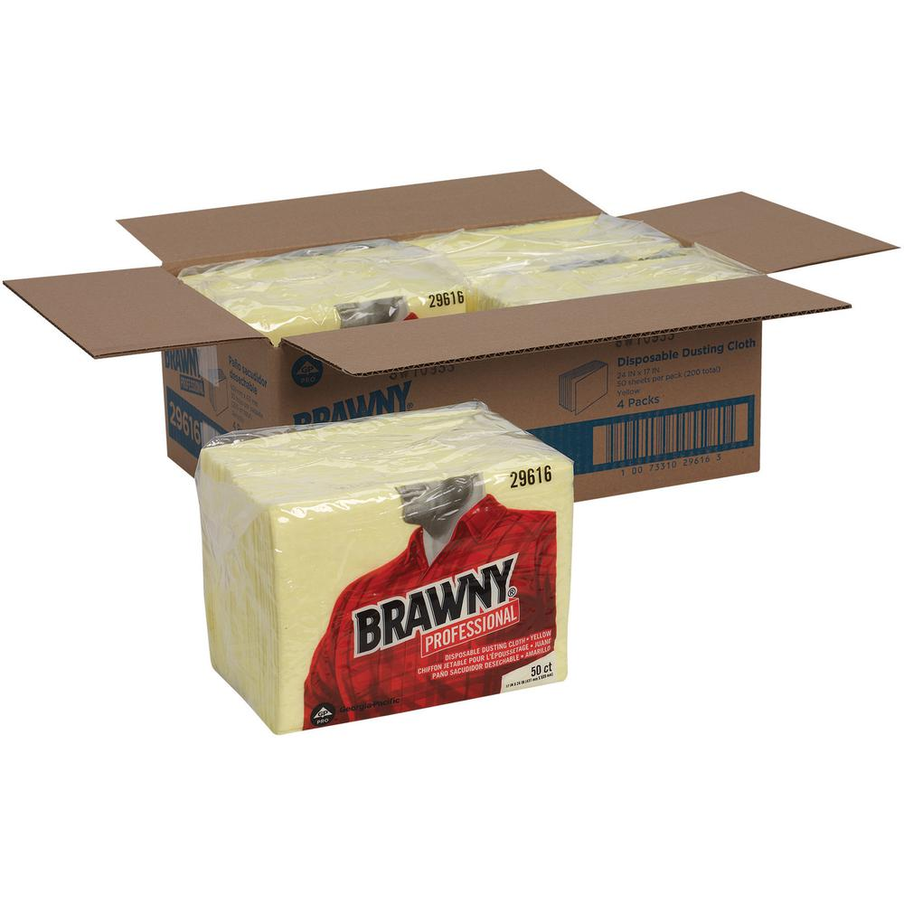 """Brawny® Professional Disposable Dusting Cloths by GP Pro - Wipe - 17"""" Width x 24"""" Length - 50 / Packet - 50 / Pack - Yellow. Picture 2"""