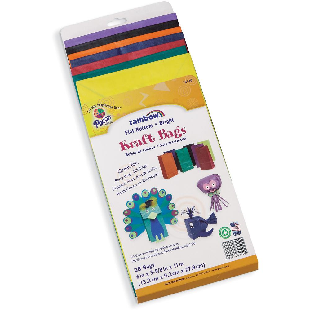 """Rainbow Kraft Bag - Art Project, Craft Project, Bag, Hat - 11"""" x 6"""" - 28 / Pack - Assorted - Kraft. Picture 4"""