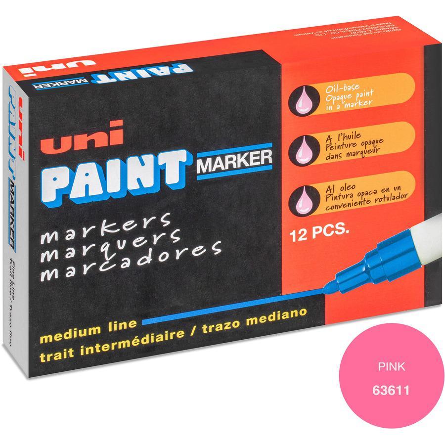 uni-ball Uni-Paint PX-20 Oil-Based Medium Point Marker - Medium Marker Point - Pink Oil Based Ink - White Barrel - 1 Each. Picture 4