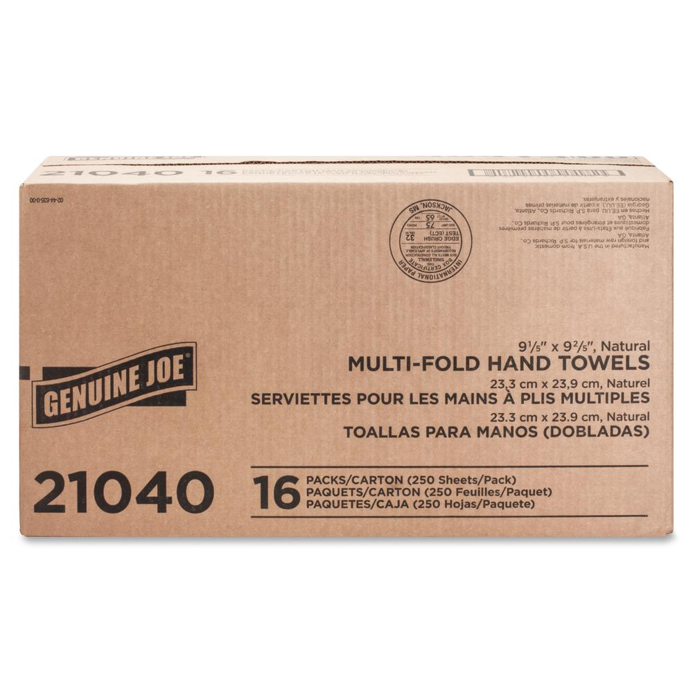 """Genuine Joe Multifold Natural Towels - 1 Ply - 9.25"""" x 9.40"""" - Natural - Chlorine-free - For Restroom, Public Facilities - 250 Per Pack - 4000 / Carton. Picture 2"""