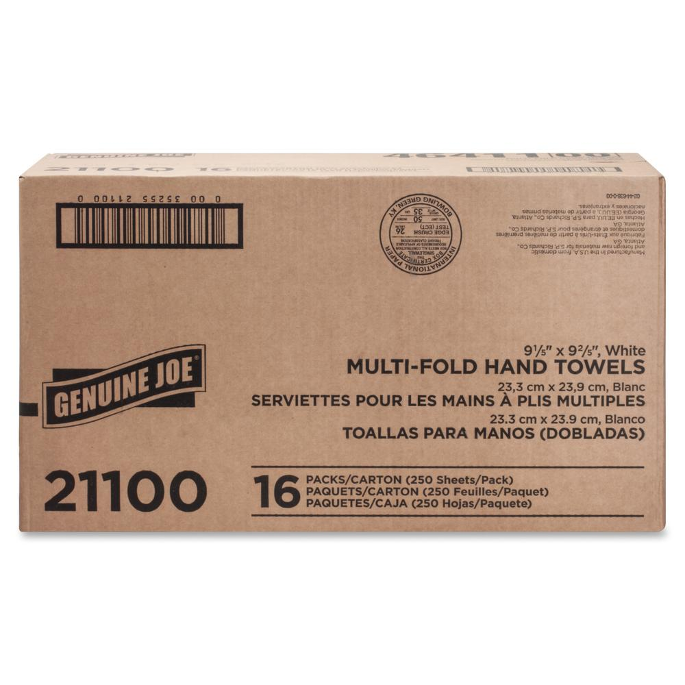 """Genuine Joe Multifold Towels - 1 Ply - 9.20"""" x 9.40"""" - White - Interfolded, Embossed, Anti-contamination, Chlorine-free - For Restroom, Public Facilities - 250 Quantity Per Bundle - 4000 / Carton. Picture 7"""