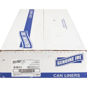 """Genuine Joe Clear Trash Can Liners - Small Size - 16 gal - 24"""" Width x 33"""" Length x 0.60 mil (15 Micron) Thickness - Low Density - Clear - 500/Carton. Picture 2"""