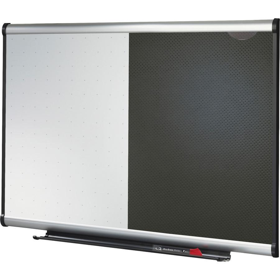 "Quartet Prestige Combination Board - 36"" (3 ft) Width x 24"" (2 ft) Height - Black Foam Surface - Silver Aluminum Frame - Horizontal - 1 / Each. Picture 4"