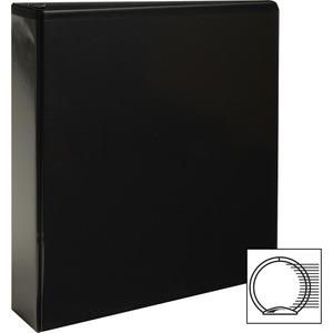 "Business Source Round-ring View Binder - 2"" Binder Capacity - Letter - 8 1/2"" x 11"" Sheet Size - 475 Sheet Capacity - Round Ring Fastener(s) - 2 Internal Pocket(s) - Polypropylene - Black - Wrinkle-fr. Picture 2"