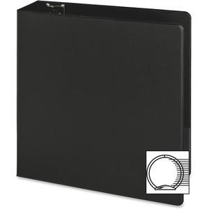 "Business Source Basic Round-ring Binder - 3"" Binder Capacity - Letter - 8 1/2"" x 11"" Sheet Size - 3 x Round Ring Fastener(s) - Inside Front & Back Pocket(s) - Vinyl - Black - 1.20 lb - Exposed Rivet, . Picture 5"