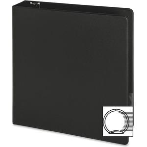 "Business Source Basic Round-ring Binder - 2"" Binder Capacity - Letter - 8 1/2"" x 11"" Sheet Size - 3 x Round Ring Fastener(s) - Inside Front & Back Pocket(s) - Vinyl - Black - 1 lb - Recycled - Exposed. Picture 3"