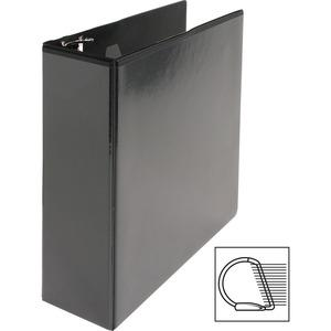 """Business Source Basic D-Ring View Binders - 3"""" Binder Capacity - Letter - 8 1/2"""" Sheet Size - D-Ring Fastener(s) - Polypropylene - Black - Clear Overlay - 1 Each. Picture 2"""