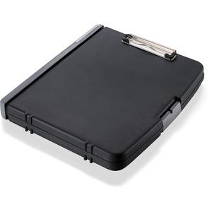 "OIC Triple File Clipboard Storage Box - 8 1/2"" x 11"" - Spring Clip - Black - 1 Each. Picture 3"